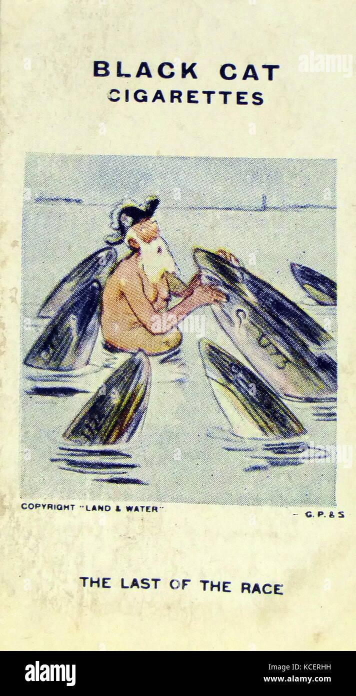 Black Cat Cigarettes, World war One, propaganda card showing: a civilian captain sunk by German (sharks) torpedo's - Stock Image