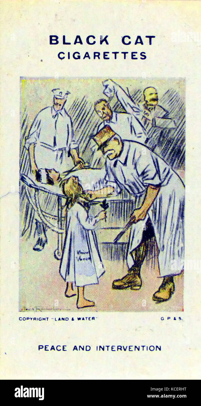 Black Cat Cigarettes, World war One, propaganda card showing: Marshall Petain the French commander as a surgeon - Stock Image