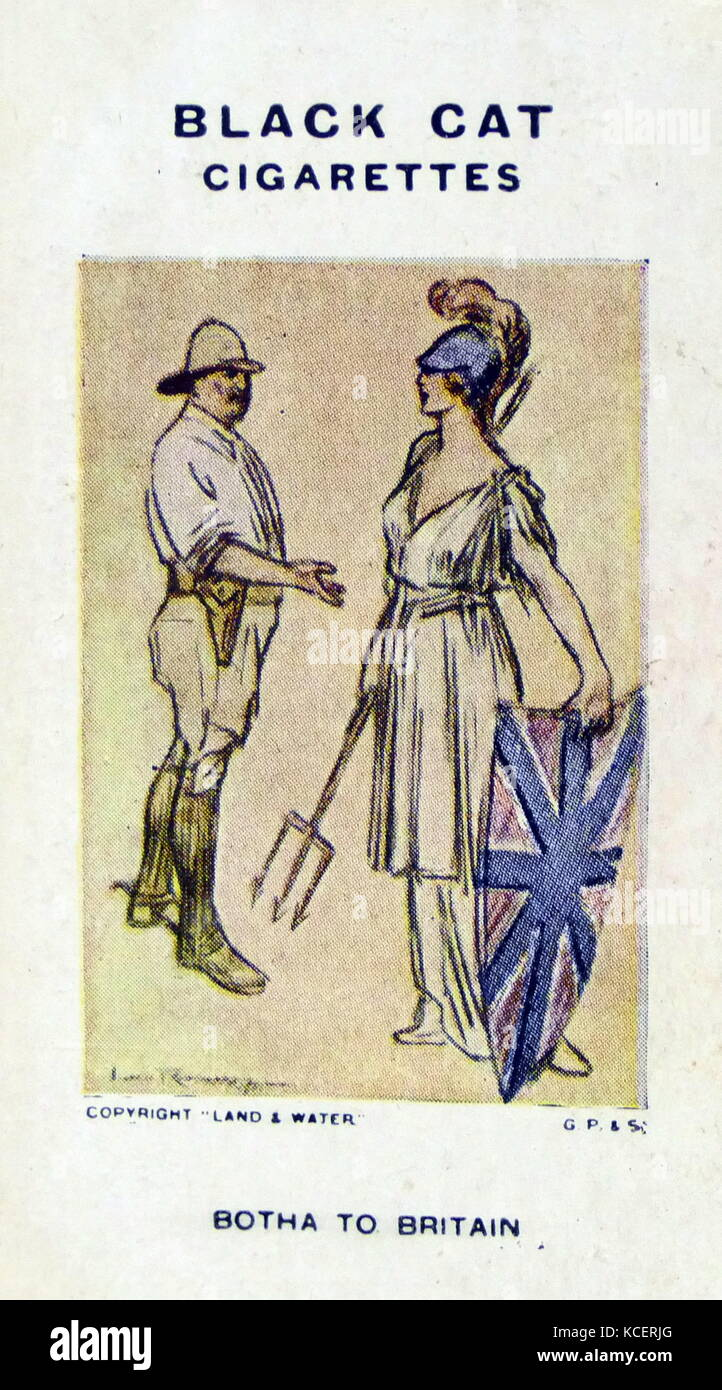 Black Cat Cigarettes, World war One, propaganda card showing: Louis Botha the South African leader offering support - Stock Image