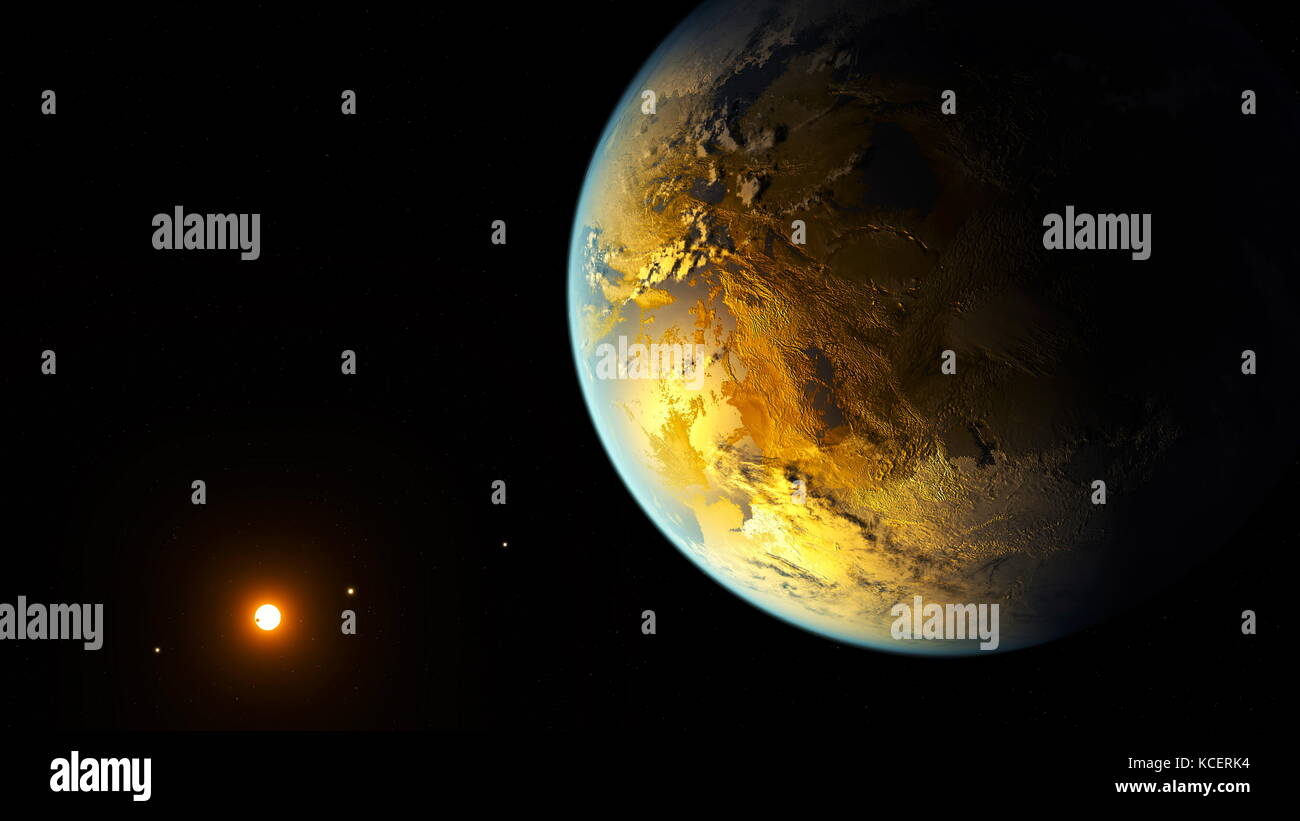 Kepler-186f (also known by its Kepler Object of Interest designation KOI-571.05) is an exoplanet orbiting the red - Stock Image