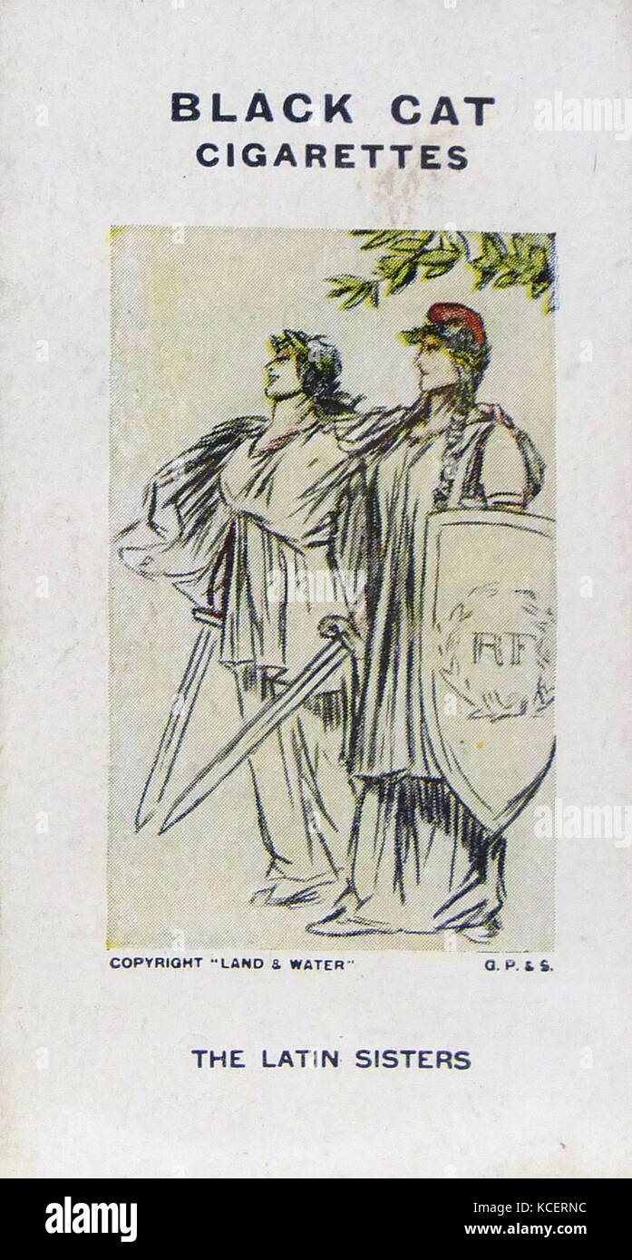 Black Cat Cigarettes, World war One, propaganda card showing: Italy and France as the Latin sisters (allies) - Stock Image