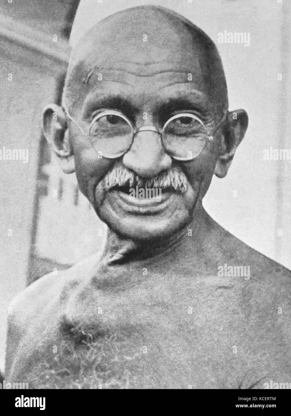 Mohandas Karamchand Gandhi (2 October 1869 – 30 January 1948). Preeminent leader of the Indian independence movement - Stock Image