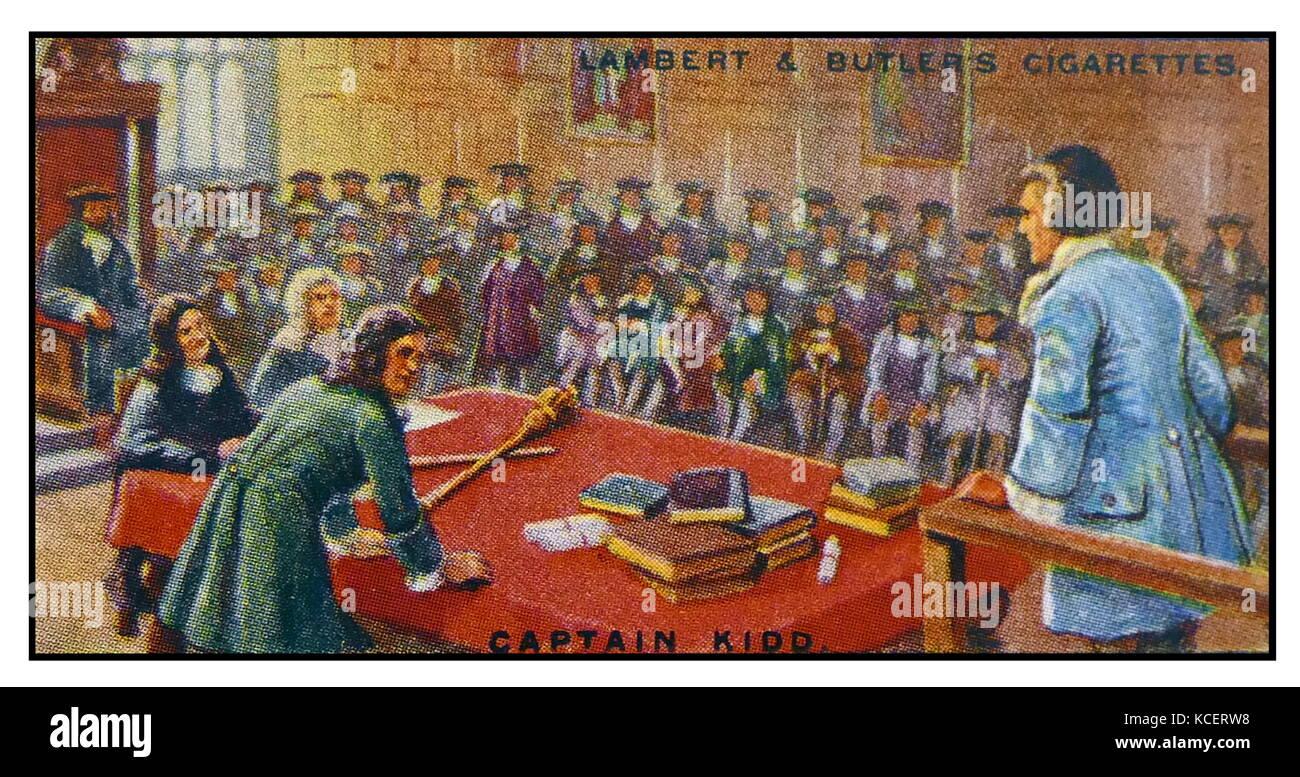 Lambert & Butler, Pirates & Highwaymen, cigarette card showing: Captain William Kidd (c. 22 January 1645 - Stock Image