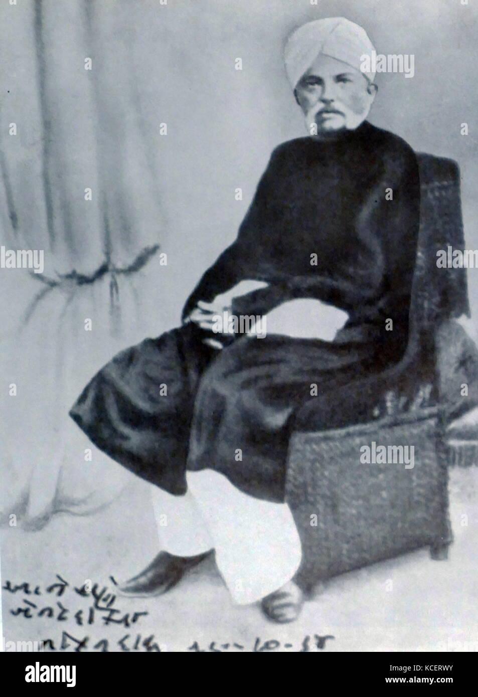 Karamchand Uttamchand Gandhi (1822-1885)also known as Kaba Gandhi was a political figure in Porbandar. He served - Stock Image