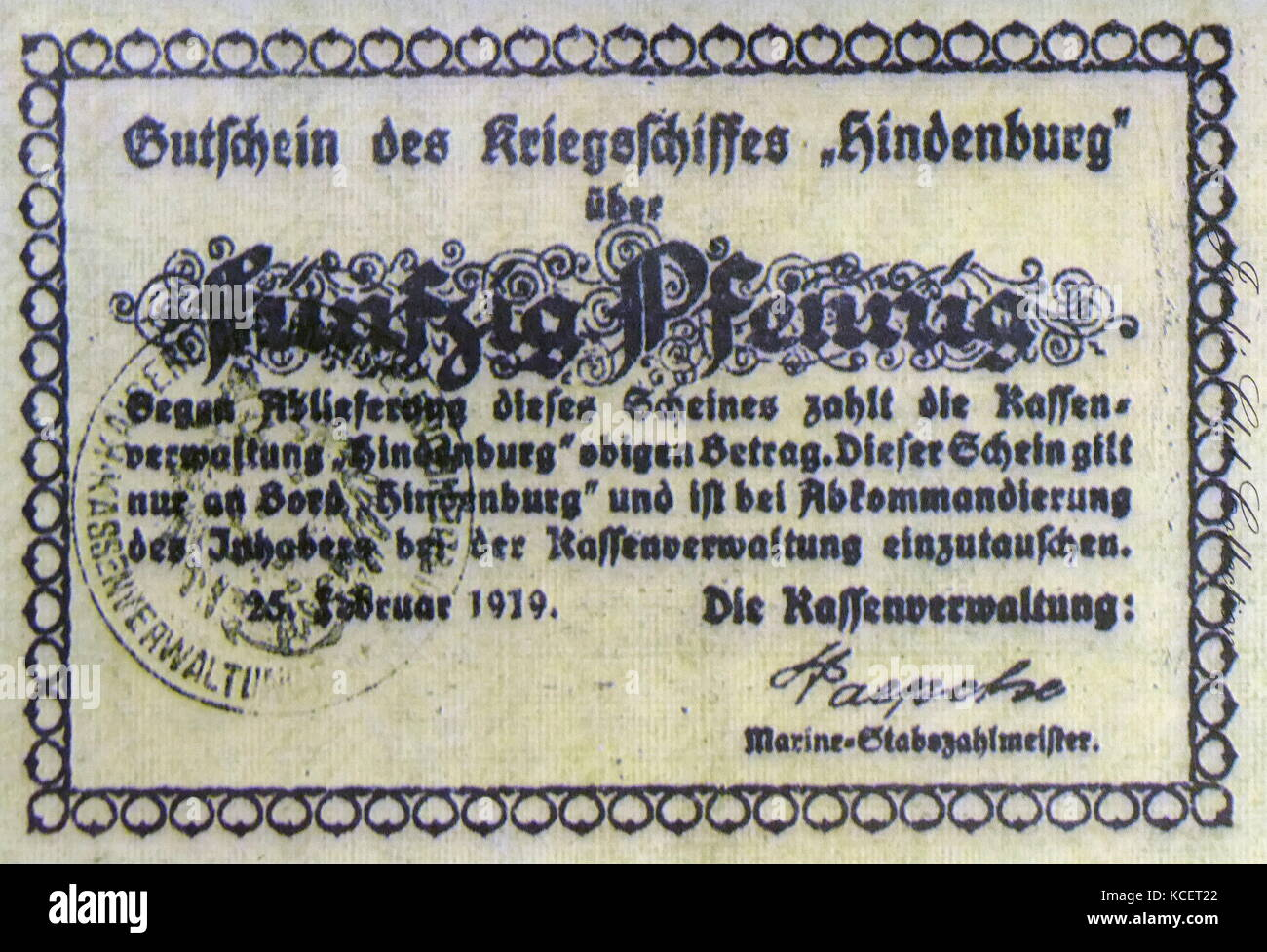 During World War (1914-18), Germany issued thousands of different Notgeld (emergency notes) for towns, cities and - Stock Image