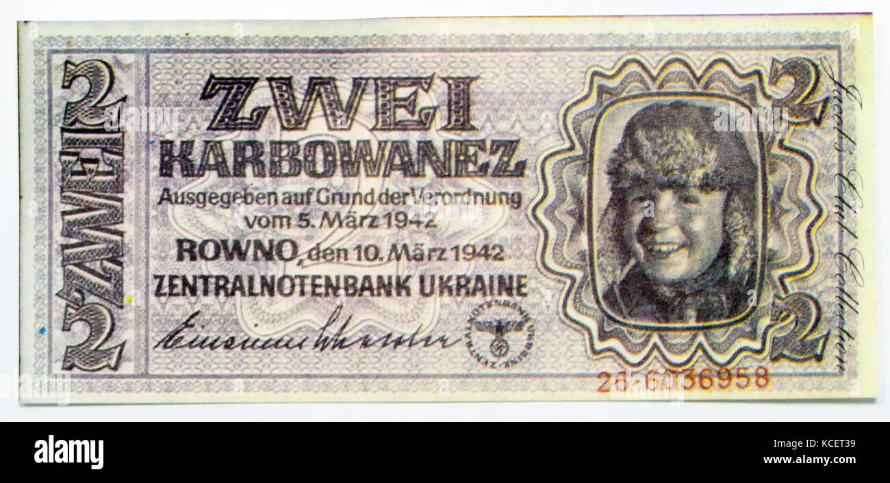 Ukrainian World war two: 2 Karbovanets (Banknote), introduced in June 1942. The banknotes were in dark colour, carrying - Stock Image