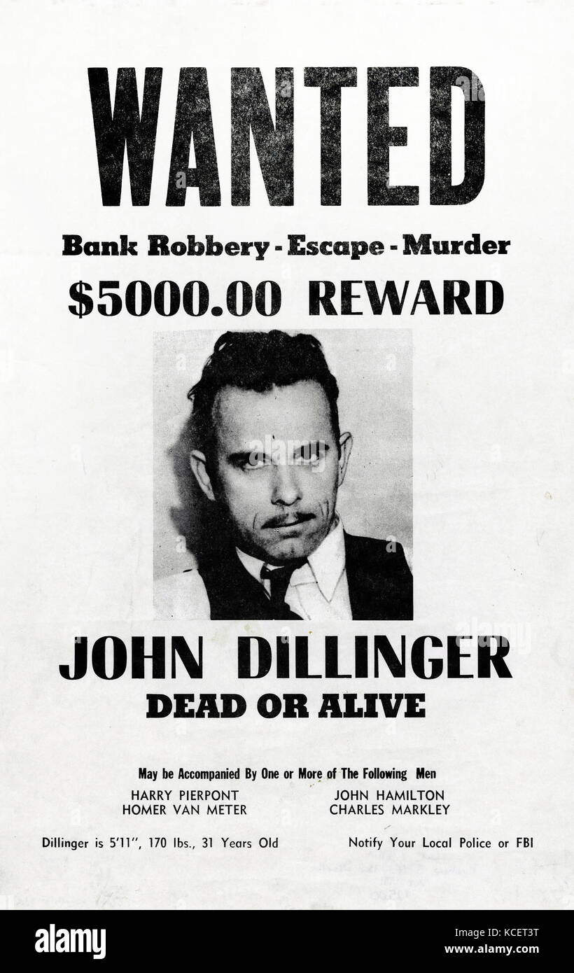 John Herbert Dillinger (1903 – 1934), American gangster in the Depression-era United States. He operated with a - Stock Image