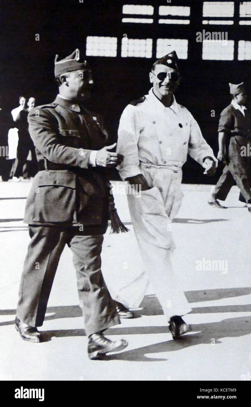 General Franco photographed next to the Air force commander, Rogelio Azaola, in the aerodrome of Tablada of Seville, - Stock Image