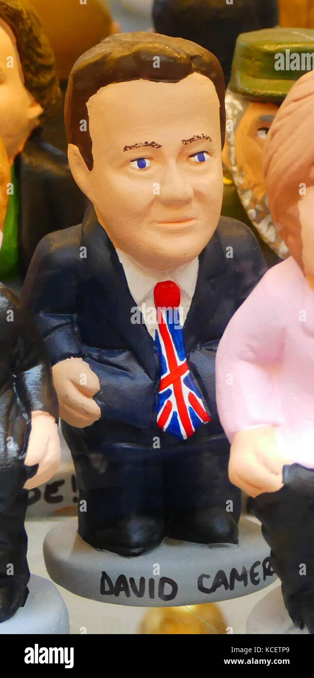 Ceramic figure of David Cameron (born 1966), British politician, conservative party leader and Prime Minister of - Stock Image