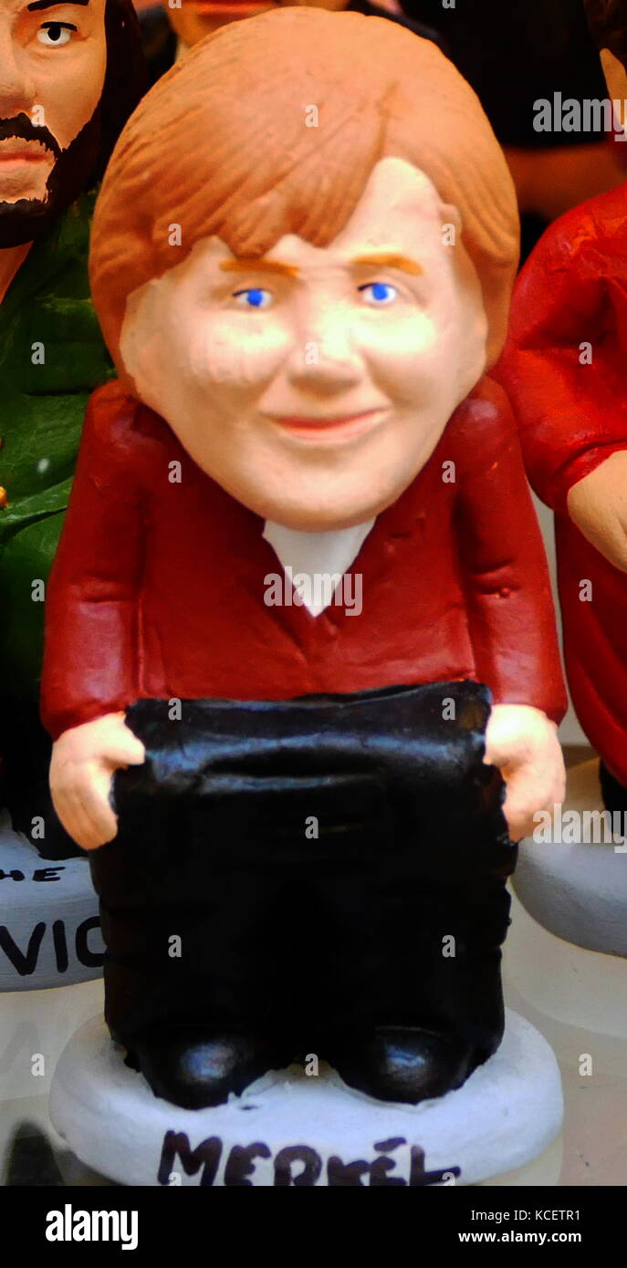 Ceramic figurine of Angela Dorothea Merkel (born 17 July 1954); German stateswoman and former research scientist. - Stock Image