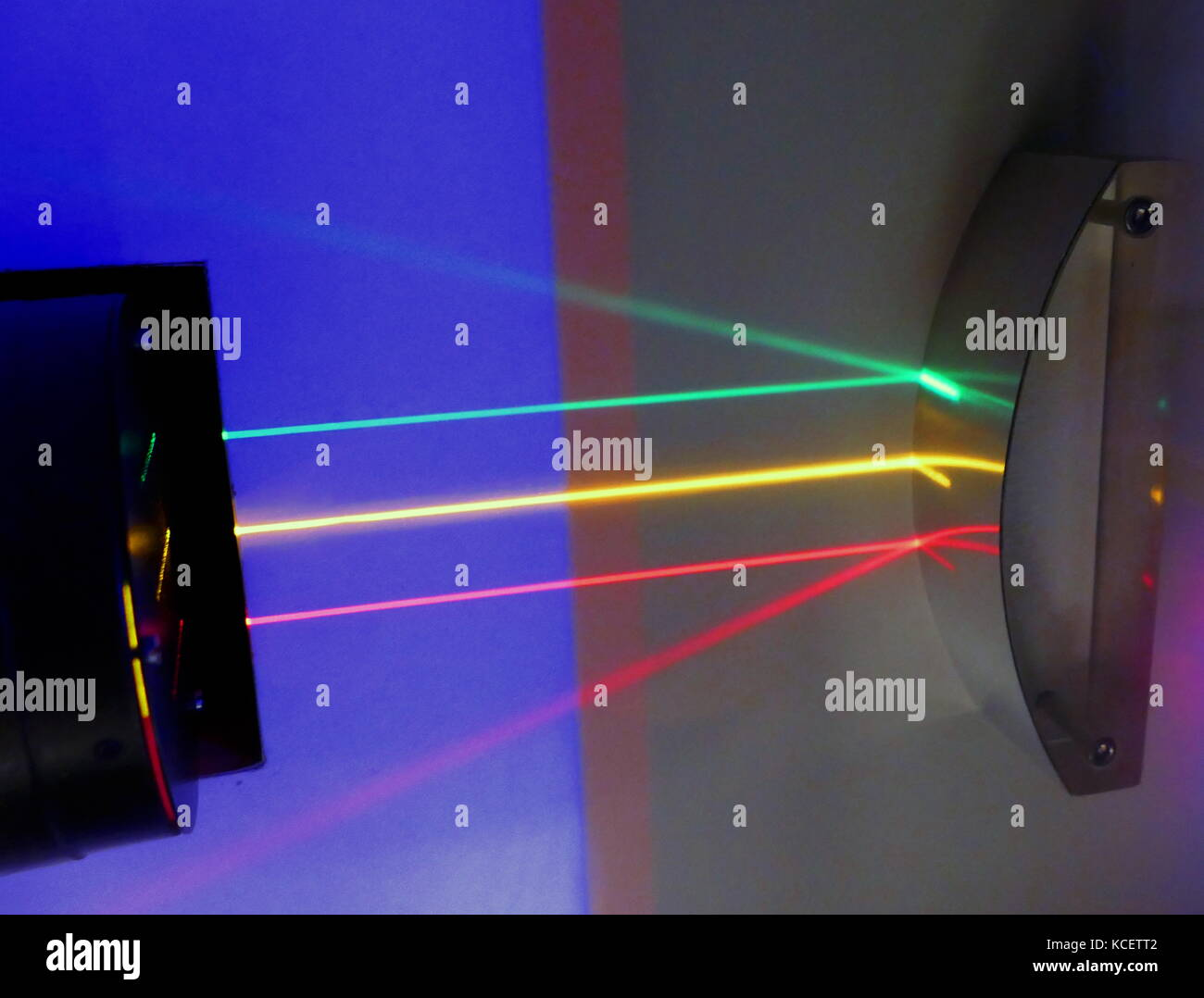 Three parallel beams of light are reflected off a mirrored surface: Reflection is the change in direction of a wave Stock Photo
