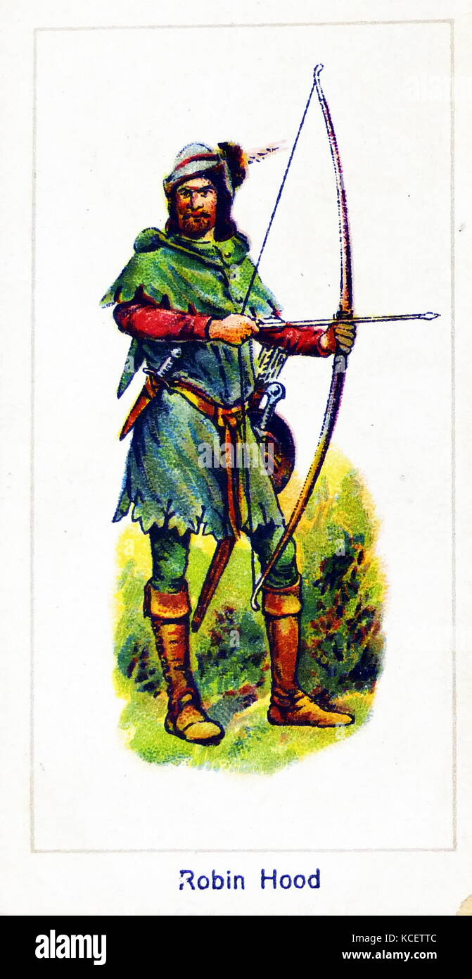 London Cigarette Card Company card 1924 depicting: Robin Hood is a heroic outlaw in English folklore who, according - Stock Image