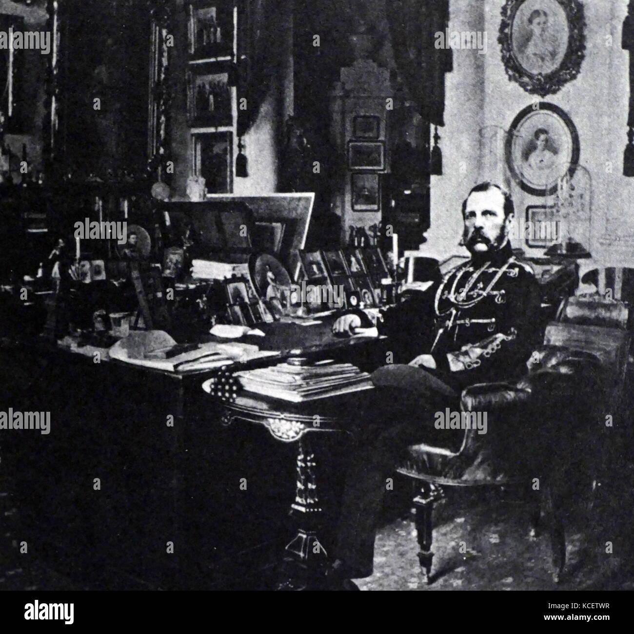 Tsar Alexander II of Russia (1818–1881), Emperor of Russia in his study, circa 1875 - Stock Image