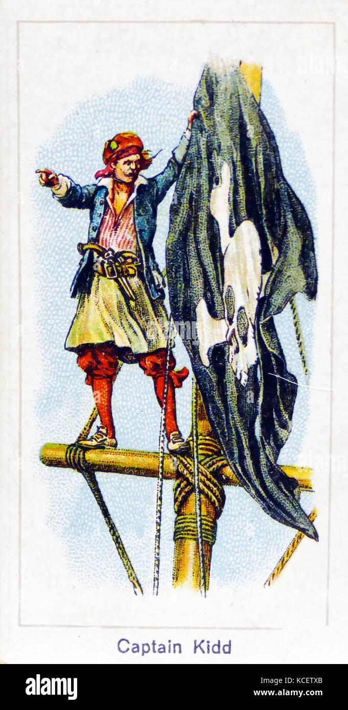 London Cigarette Card Company card 1924 depicting: Captain William Kidd (c.1645 – 1701); Scottish sailor who was - Stock Image