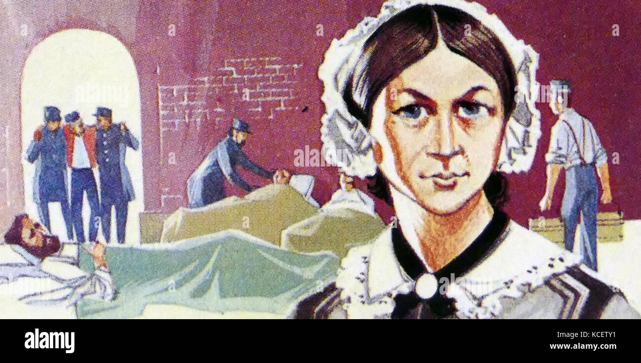 1969 Brooke Bond collectors tea card, depicting: Florence Nightingale, (1820 – 1910); English nurse, social reformer - Stock Image