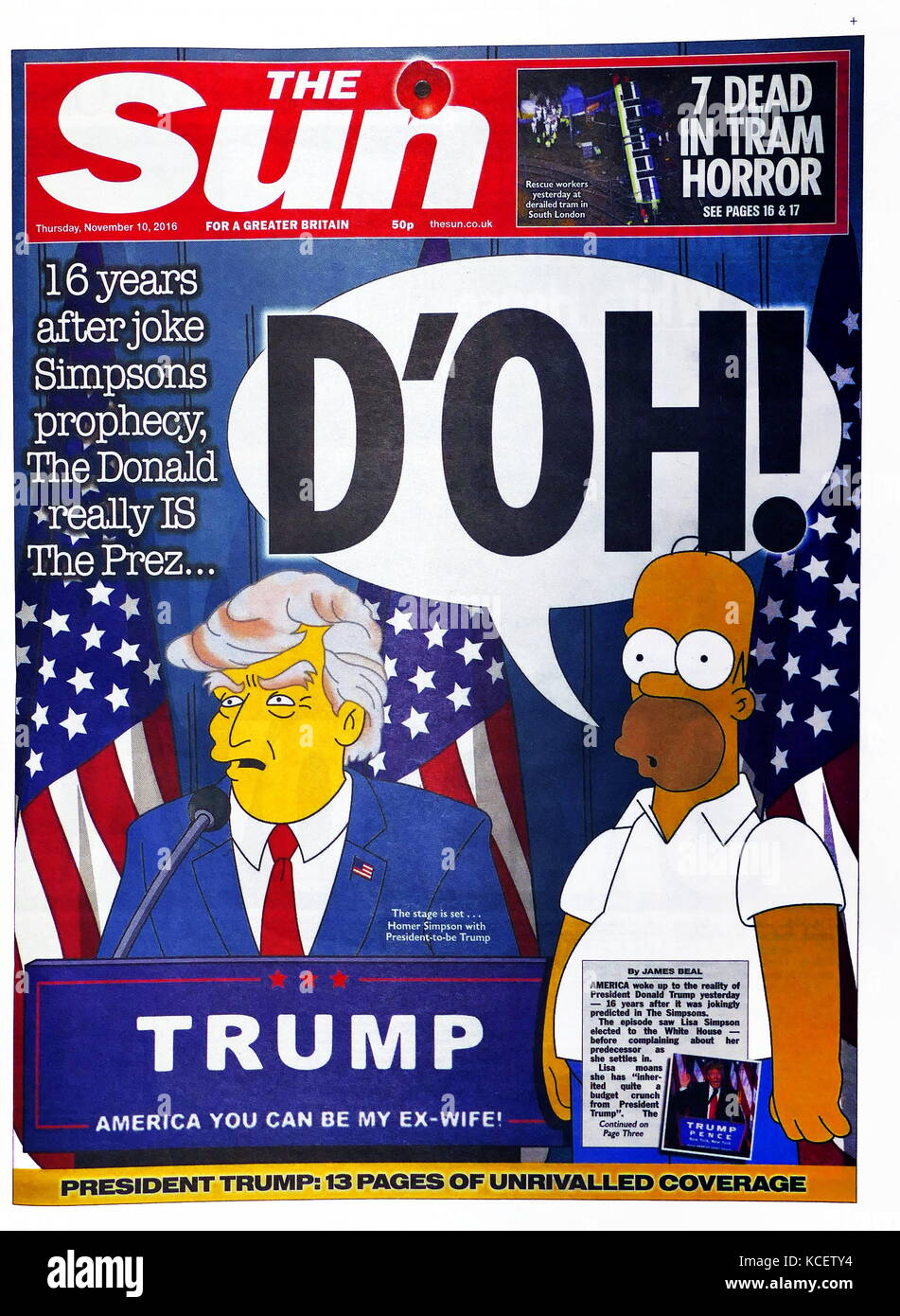 D'oh!' Headline in the British newspaper 'The Sun' front page, 10th November 2016. After the election - Stock Image