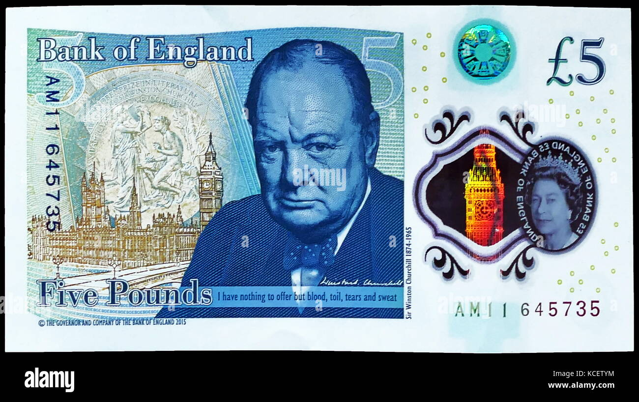 The Bank of England £5 note, is a banknote of the pound sterling. It is the smallest denomination of banknote - Stock Image