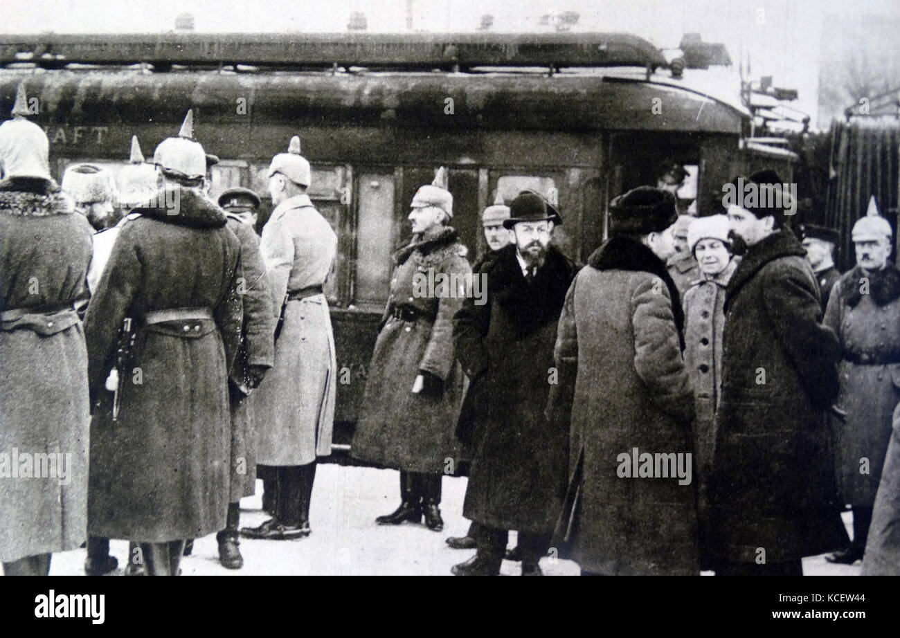 Russian negotiators arrive to discuss the proposed Treaty of Brest-Litovsk. The treaty was signed on 3 March 1918 - Stock Image