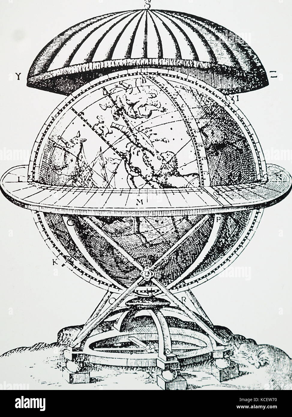 Engraving depicting Tycho Brahe's celestial globe on which he plotted the positions of the stars he observed. - Stock Image