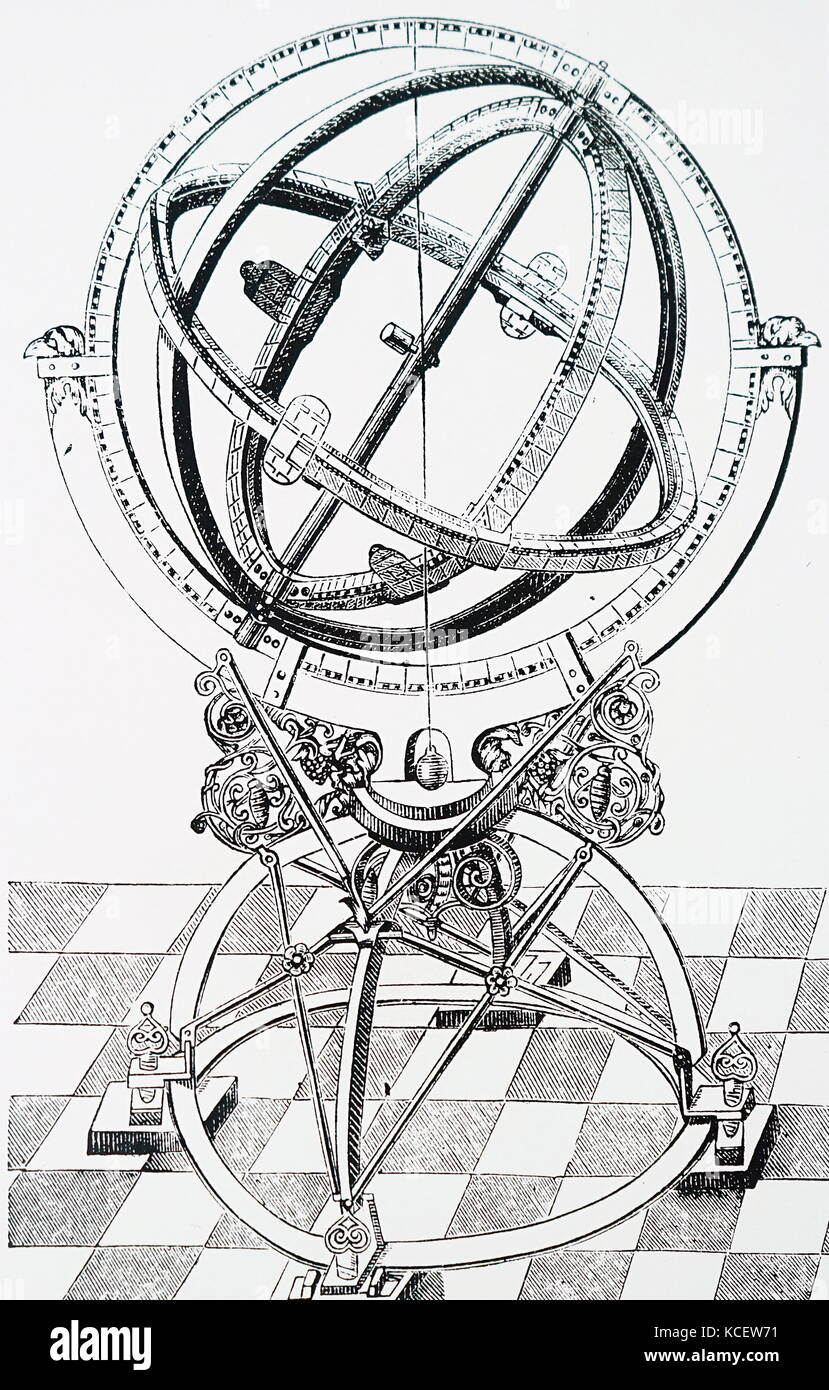 Engraving depicting Tycho Brahe's equatorial circle. Tycho Brahe (1546-1601) a Danish nobleman and astronomer. - Stock Image