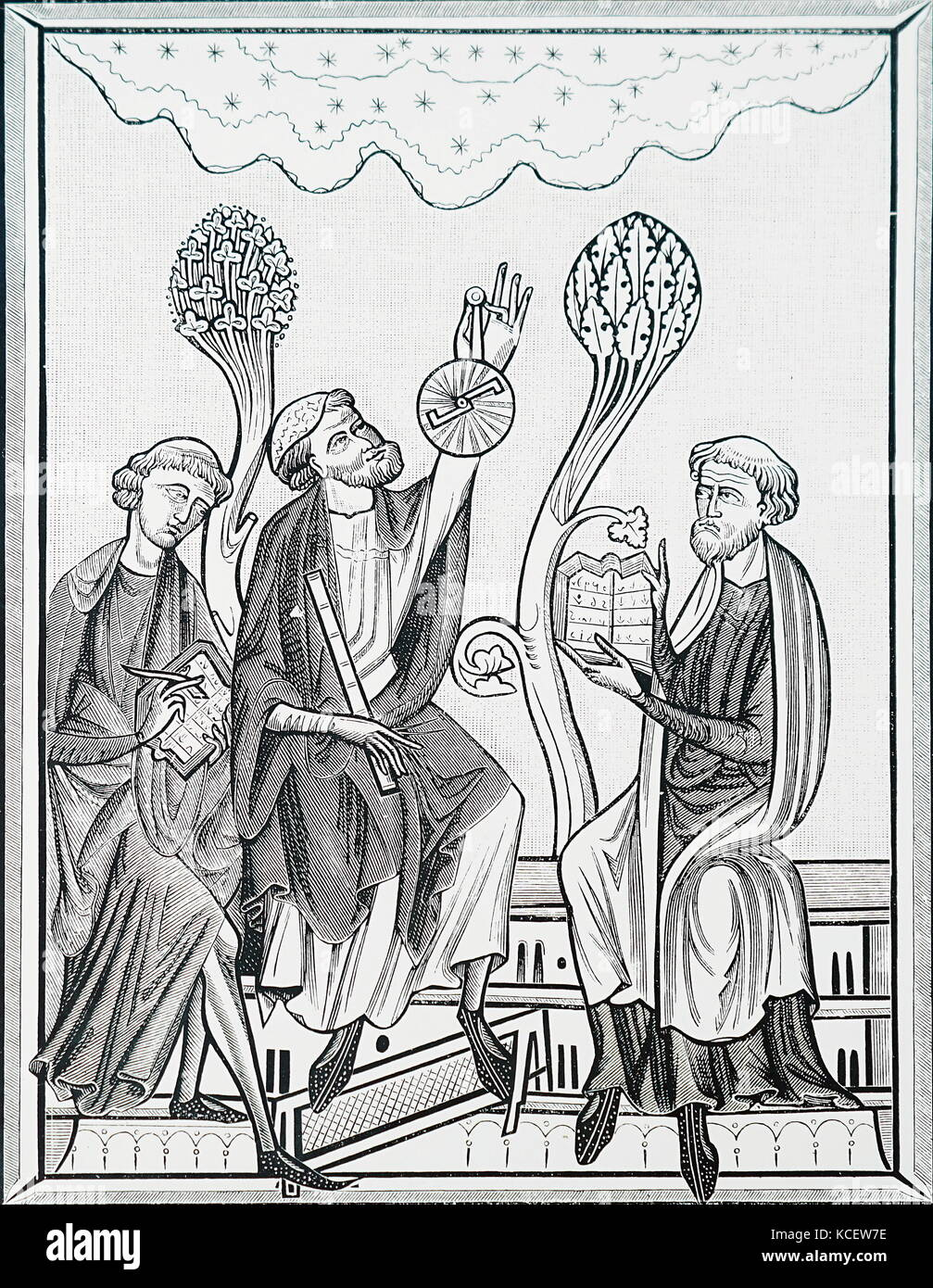 Engraving depicting an astronomy lesson using an astrolabe. Dated 13th Century - Stock Image