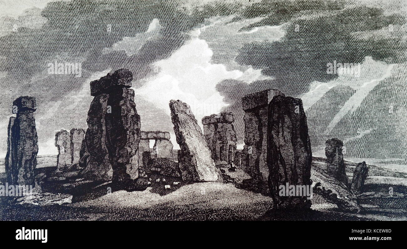 Illustration depicting Stonehenge by William Marshall Craig (1788-1827) an English painter. Dated 19th Century - Stock Image