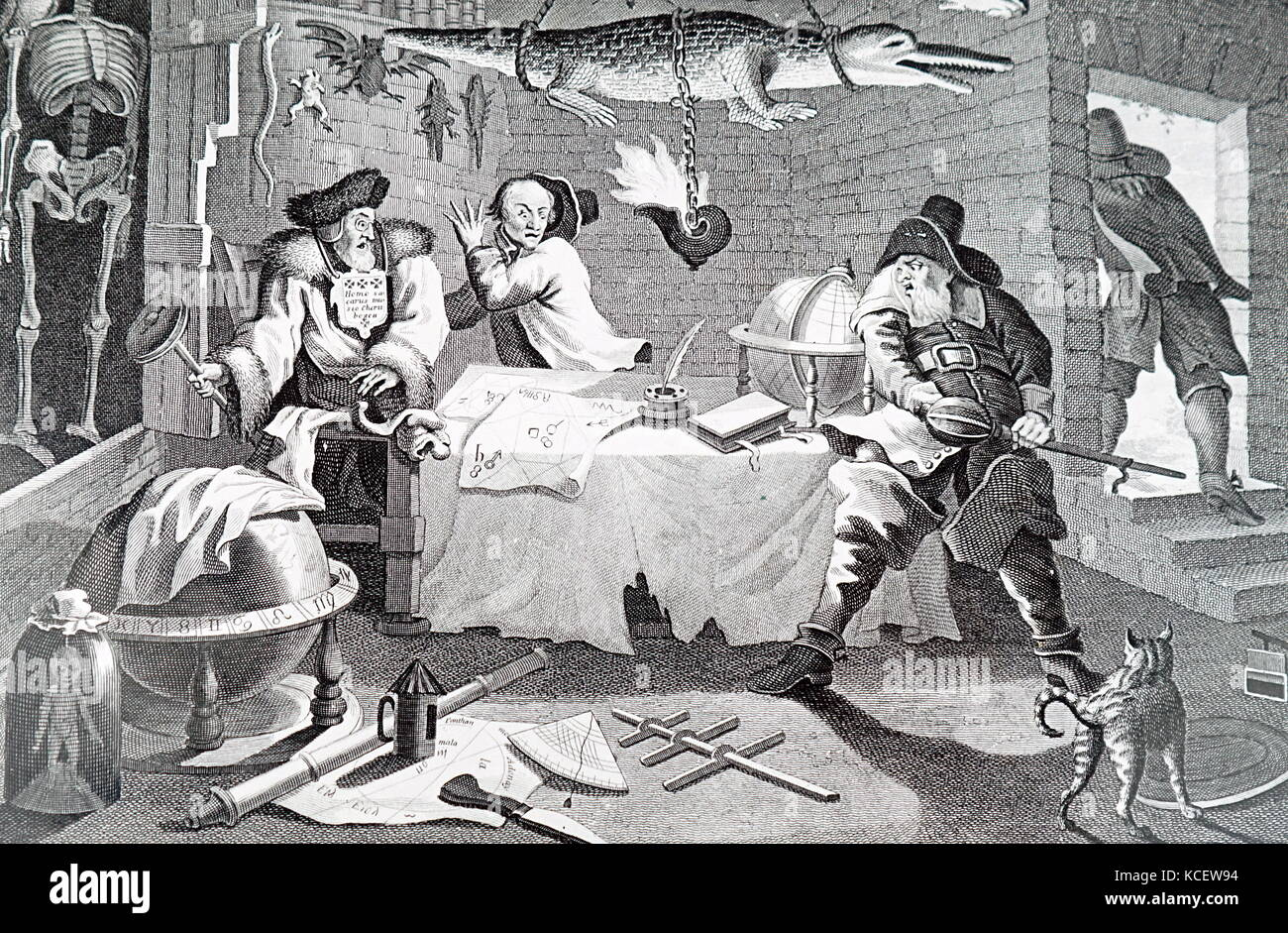 Illustration depicting an Occult scene by William Hogarth (1697-1964) an English printmaker, painter, pictorial - Stock Image