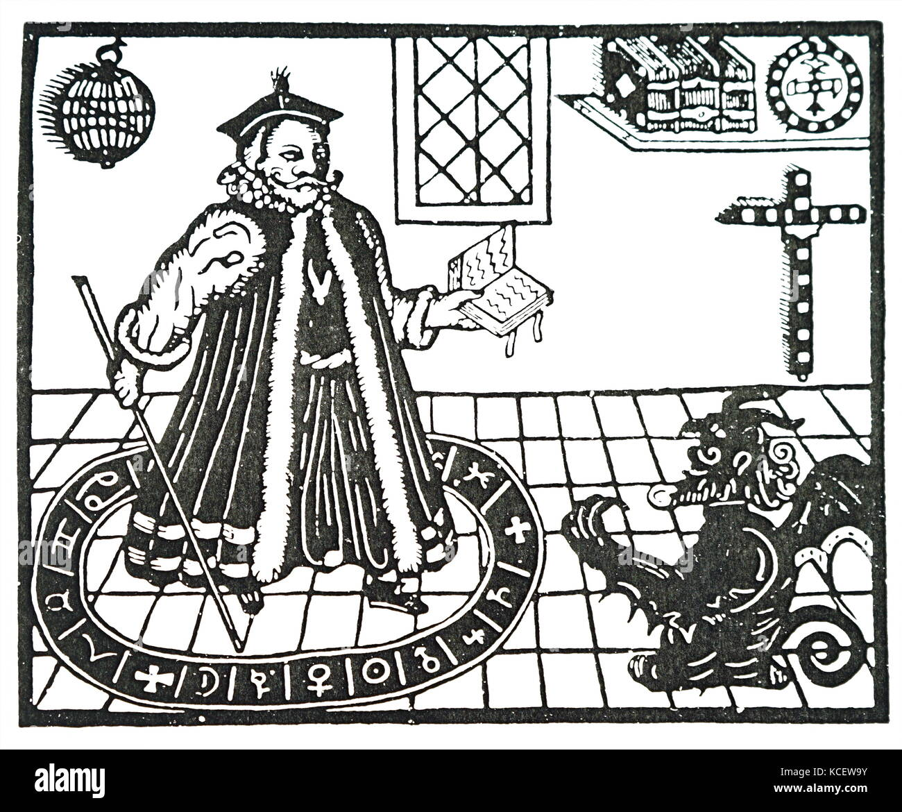 Illustration depicting Mephistopheles appearing to Doctor Faustus from Christopher Marlowe's 'Doctor Faustus'. - Stock Image