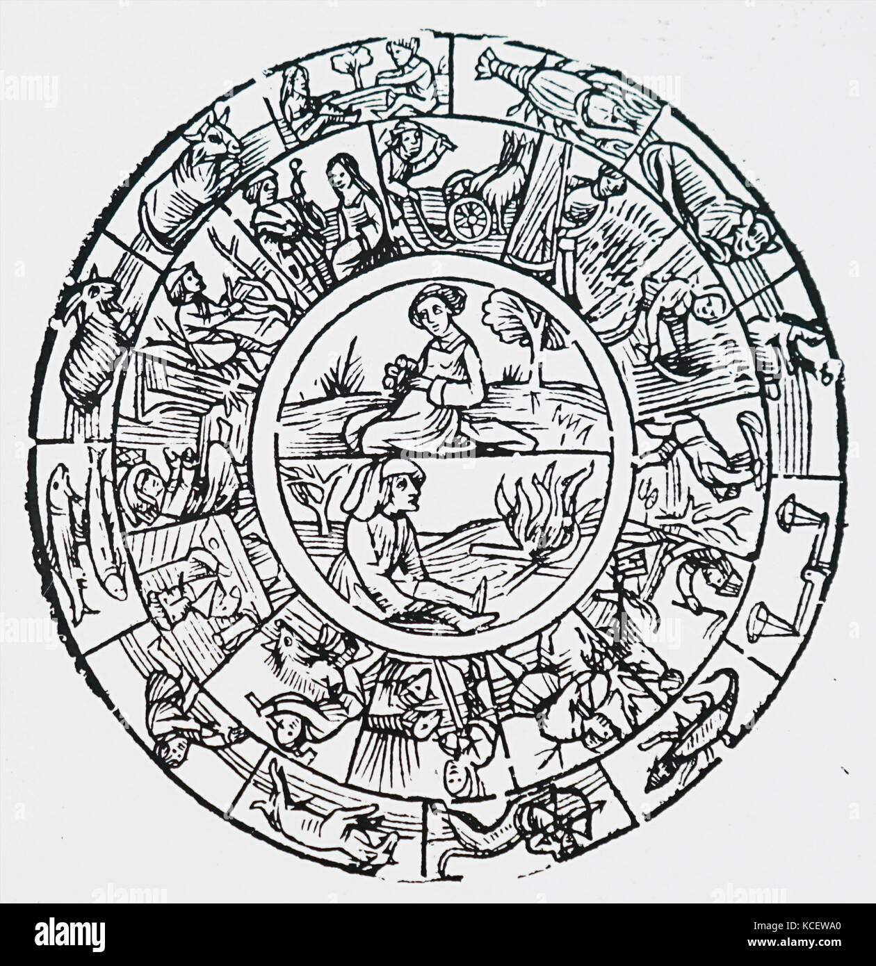 Engraving depicting the seasonal occupations of the earth and the signs of the Zodiac governing them. Dated 16th - Stock Image