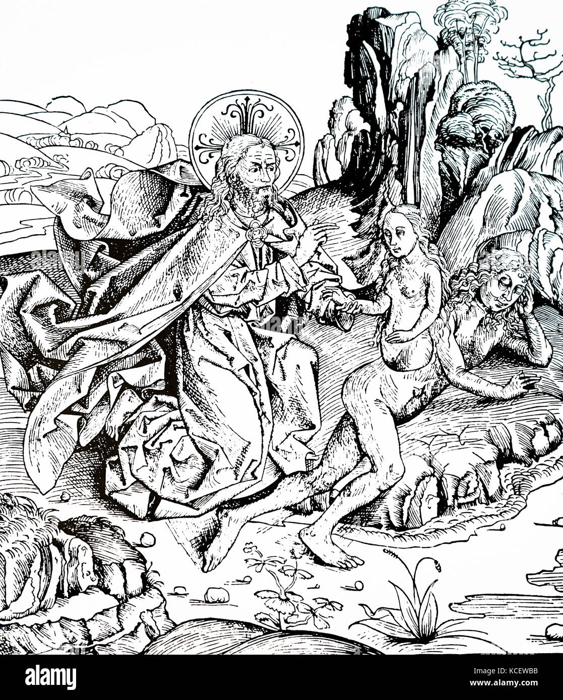 Engraving depicting the creation of Adam and Eve from the Nuremburg Chronicle by Hartmann Schedel (1440-1514) a - Stock Image