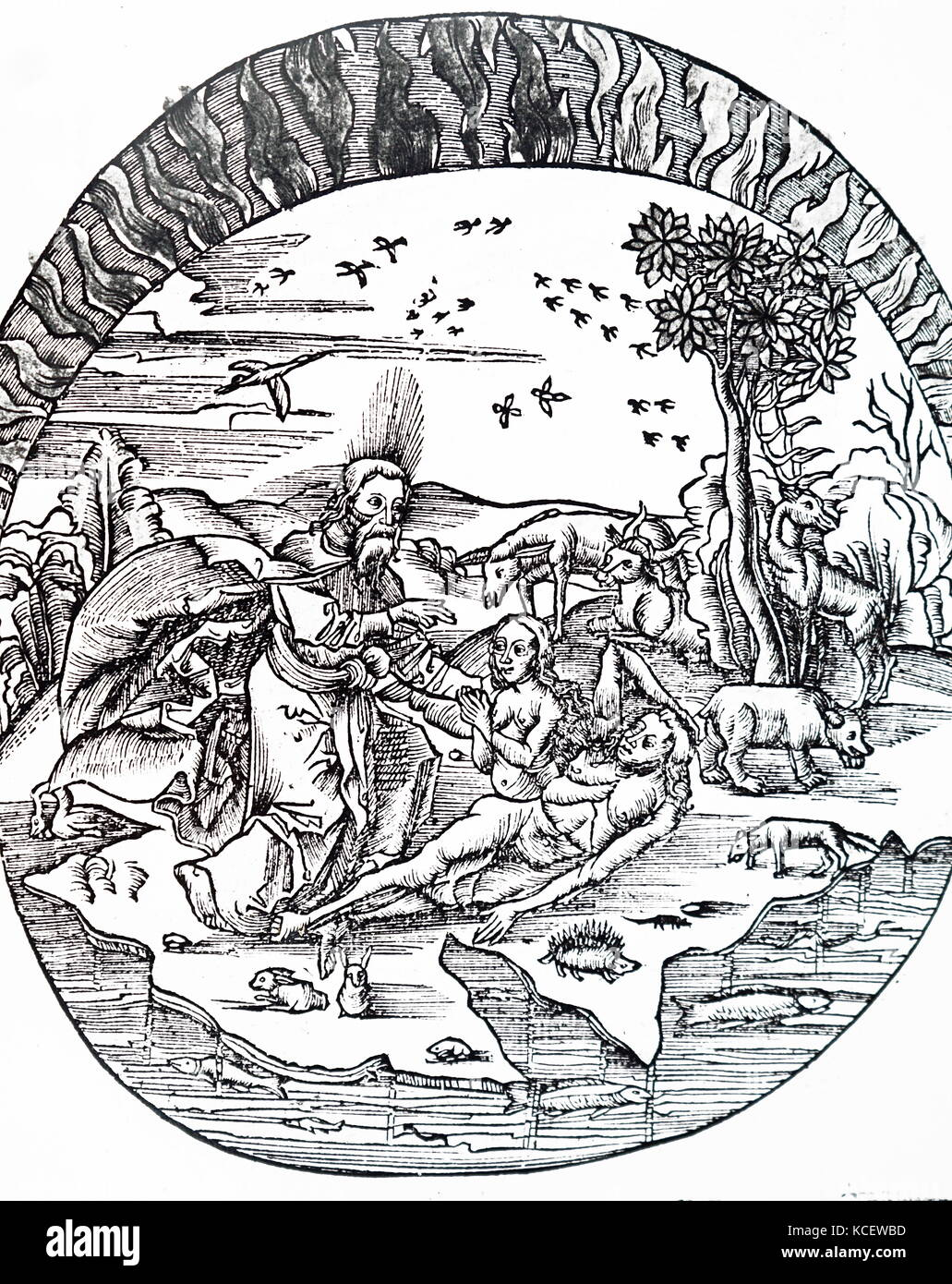 Illustration depicting Thales of Miletus' concept of a flat earth floating above water. Thales of Miletus, a - Stock Image