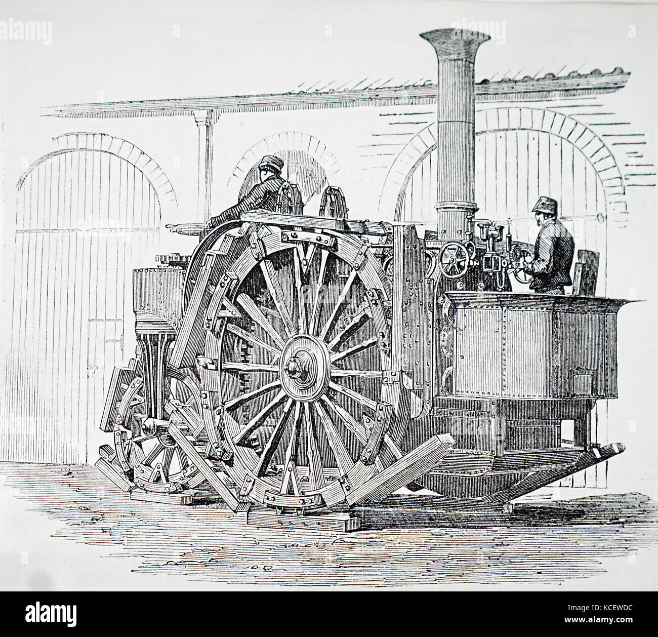 Illustration depicting steam engines and threshing machines at the 1854 Smithfield Show. Dated 19th Century - Stock Image