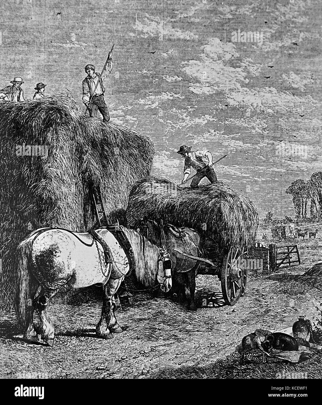 Painting titled 'Haystacking' by William H. Hopkins (1853-1892) a British artist. Dated 19th Century Stock Photo
