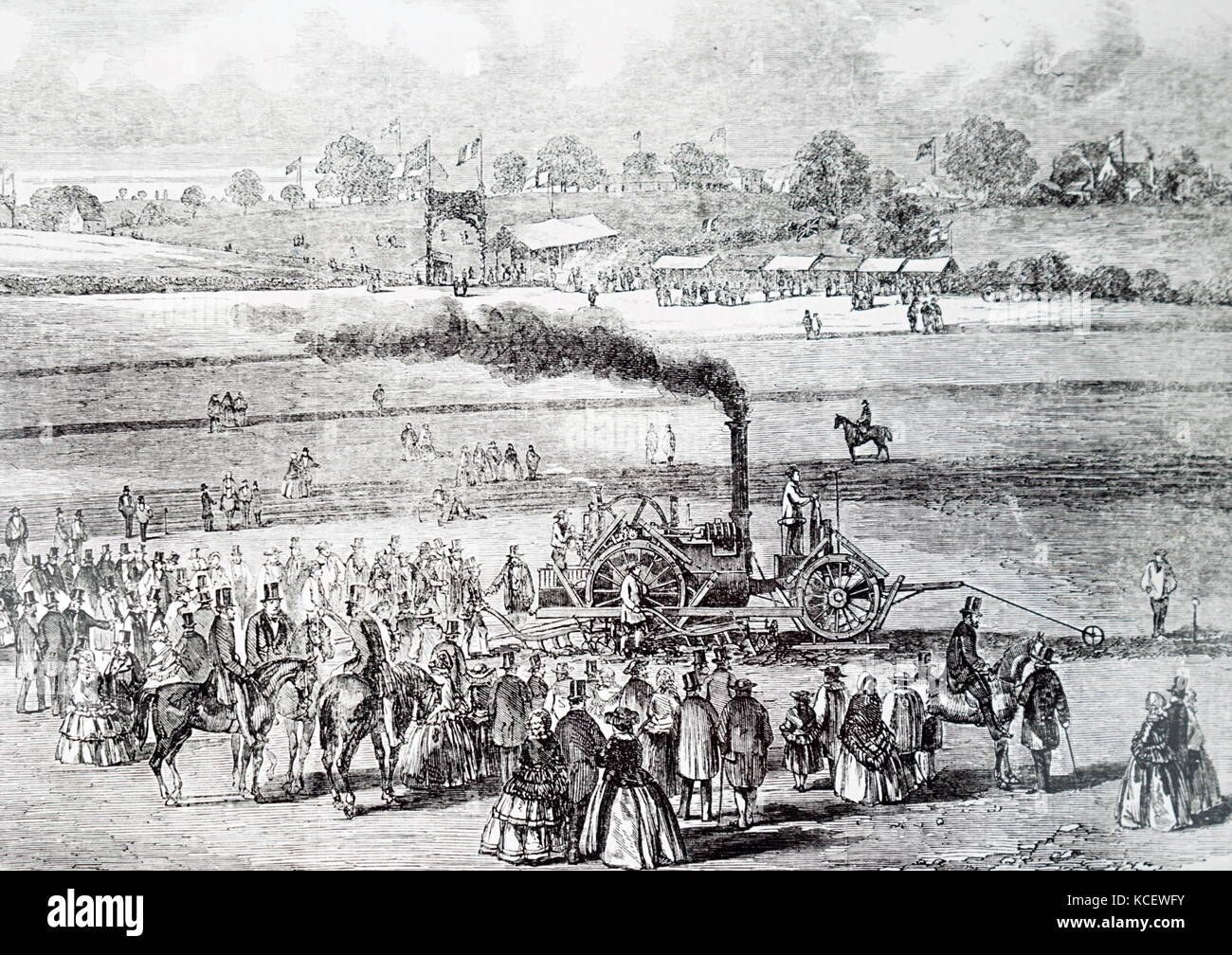 Engraving depicting a demonstration of Boydell's steam plough. Dated 19th Century - Stock Image