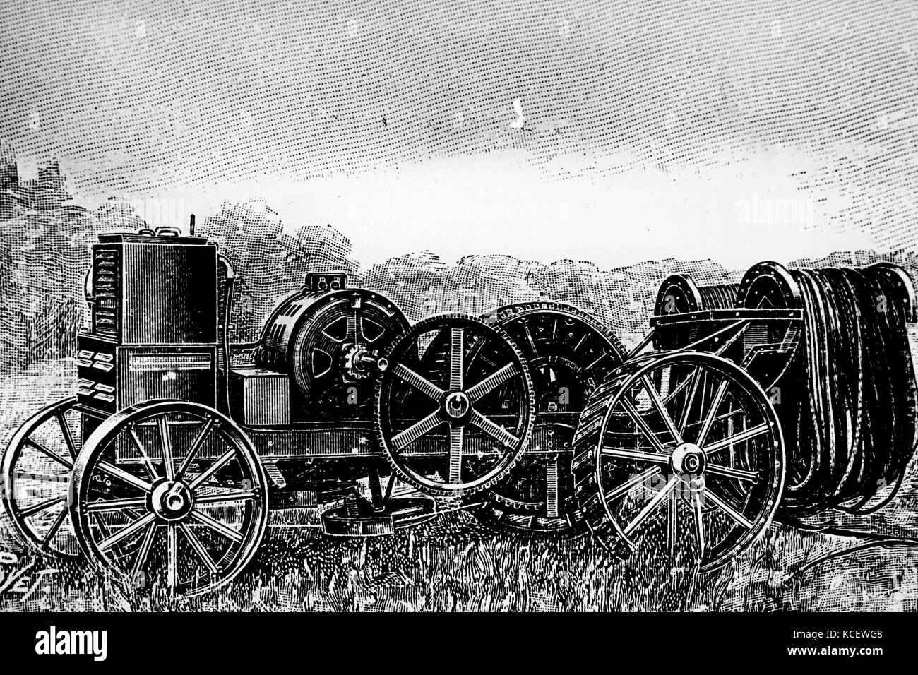 Engraving depicting a portable electric winch by Siemens-Schuckert, for use in mechanical ploughing by a plough - Stock Image