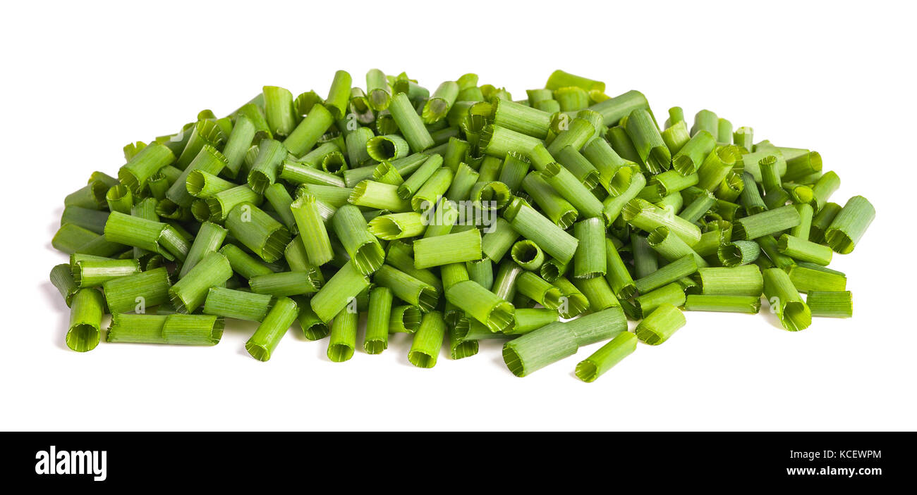 chopped chives  isolated on white background - Stock Image