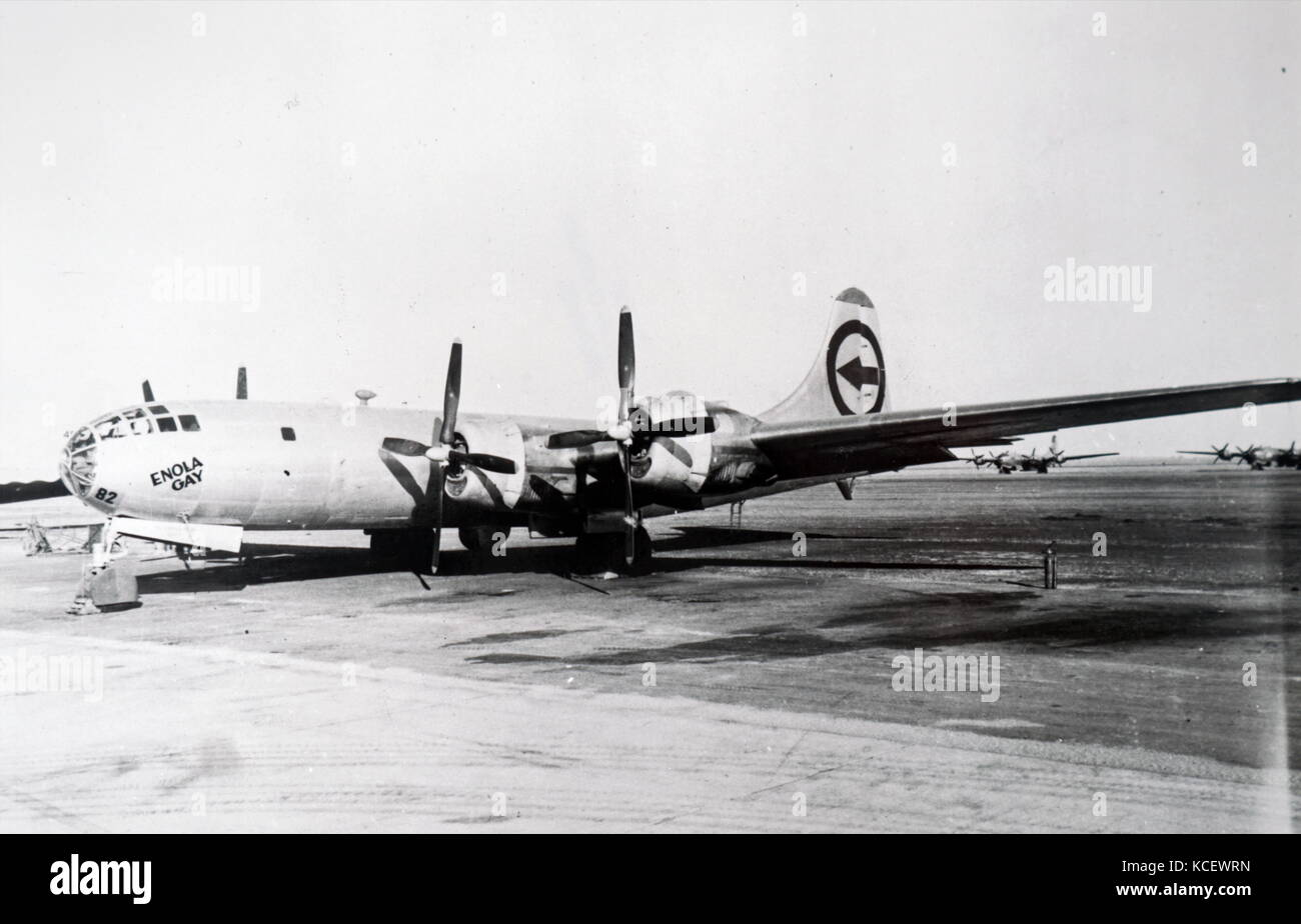 Photograph of the Enola Gay plane, a Boeing B-29 Superfortress bomber, which was used to drop the first atomic bomb Stock Photo