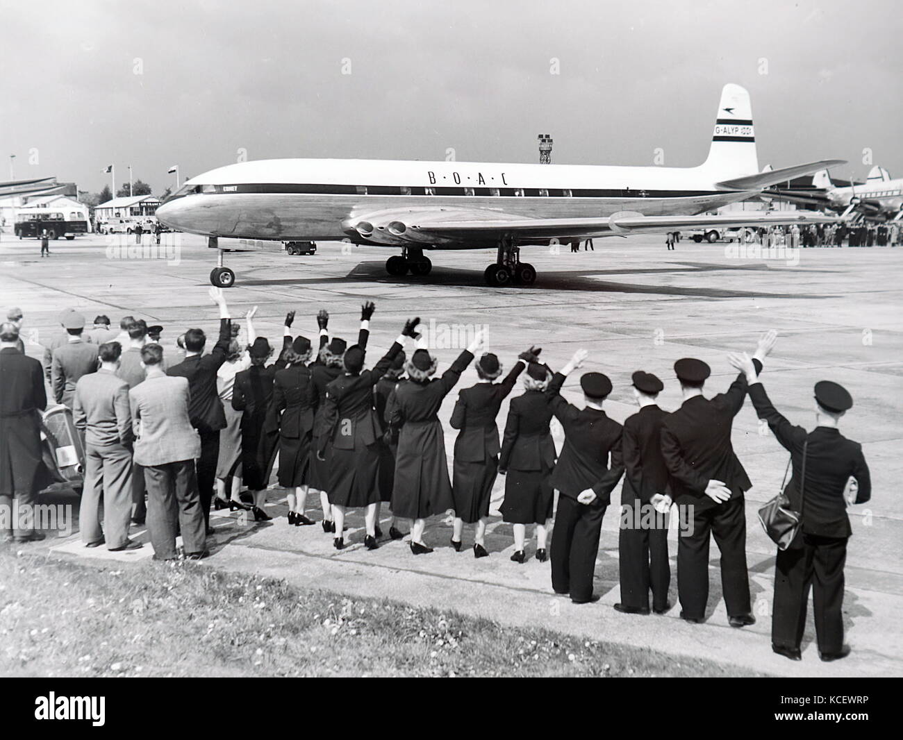 Photograph taken of the de Havilland Comet, the world's first commercial jetliner, leaving Heathrow. Dated 20th - Stock Image