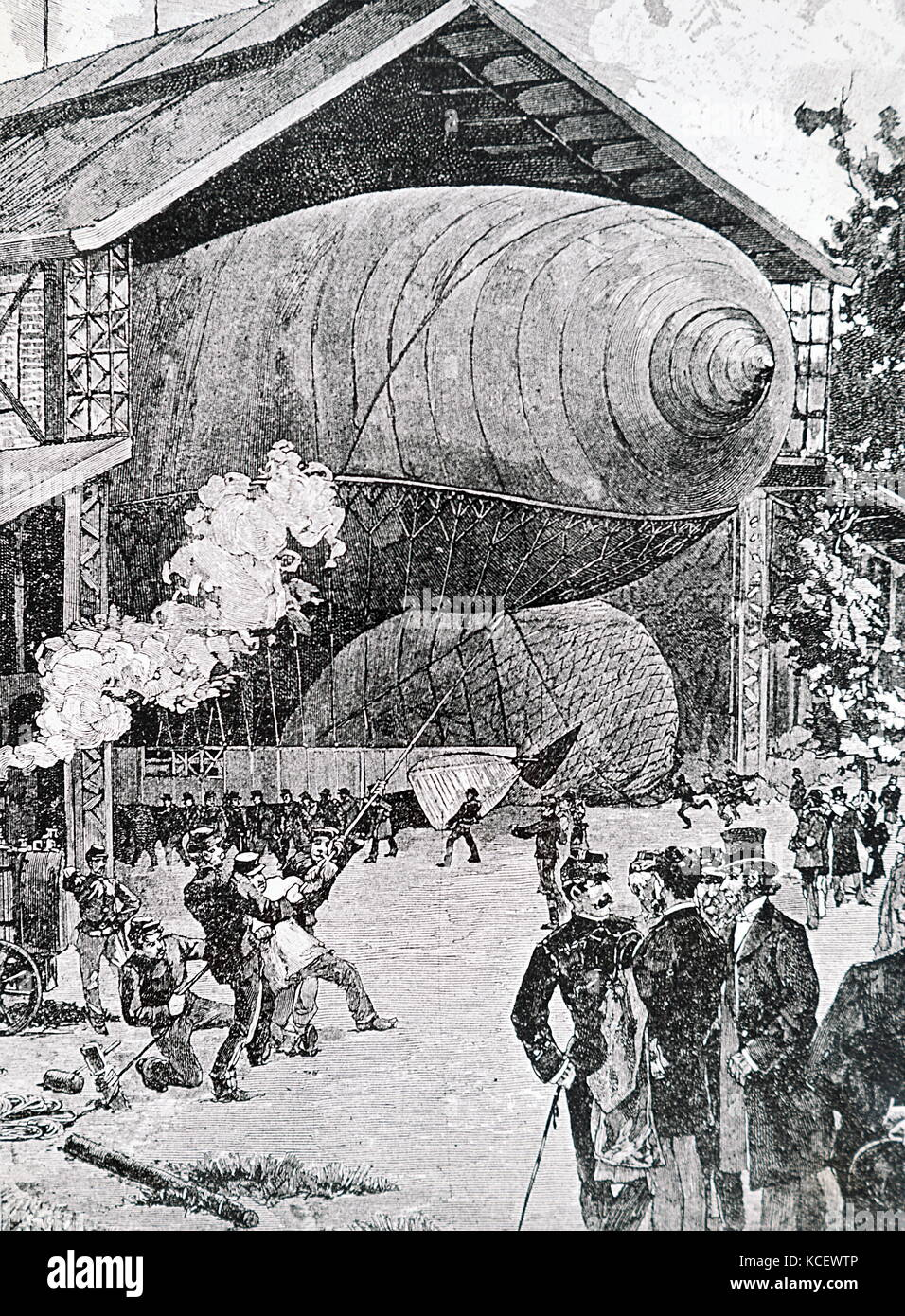 Engraving depicting the airship 'La France' in its hanger. Dated 20th Century - Stock Image