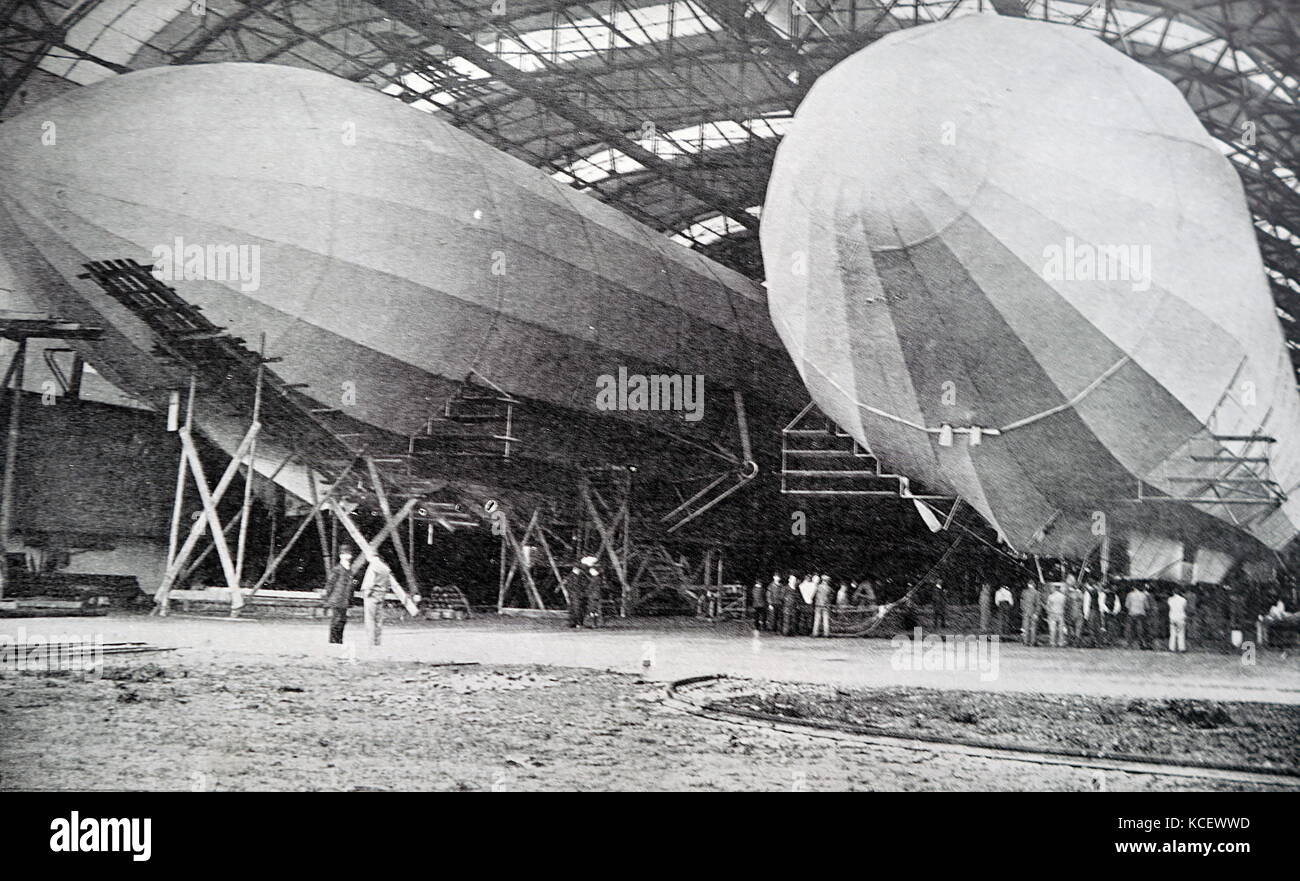 Photograph of Zeppelin Airships in a Hanger, named after the German Count Ferdinand von Zeppelin (1838-1917) a German - Stock Image