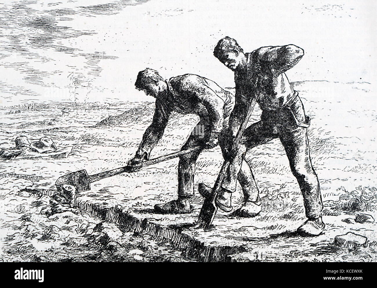 Print of the painting titled 'The Diggers' by Jean-François Millet (1814-1875) a French painter and - Stock Image