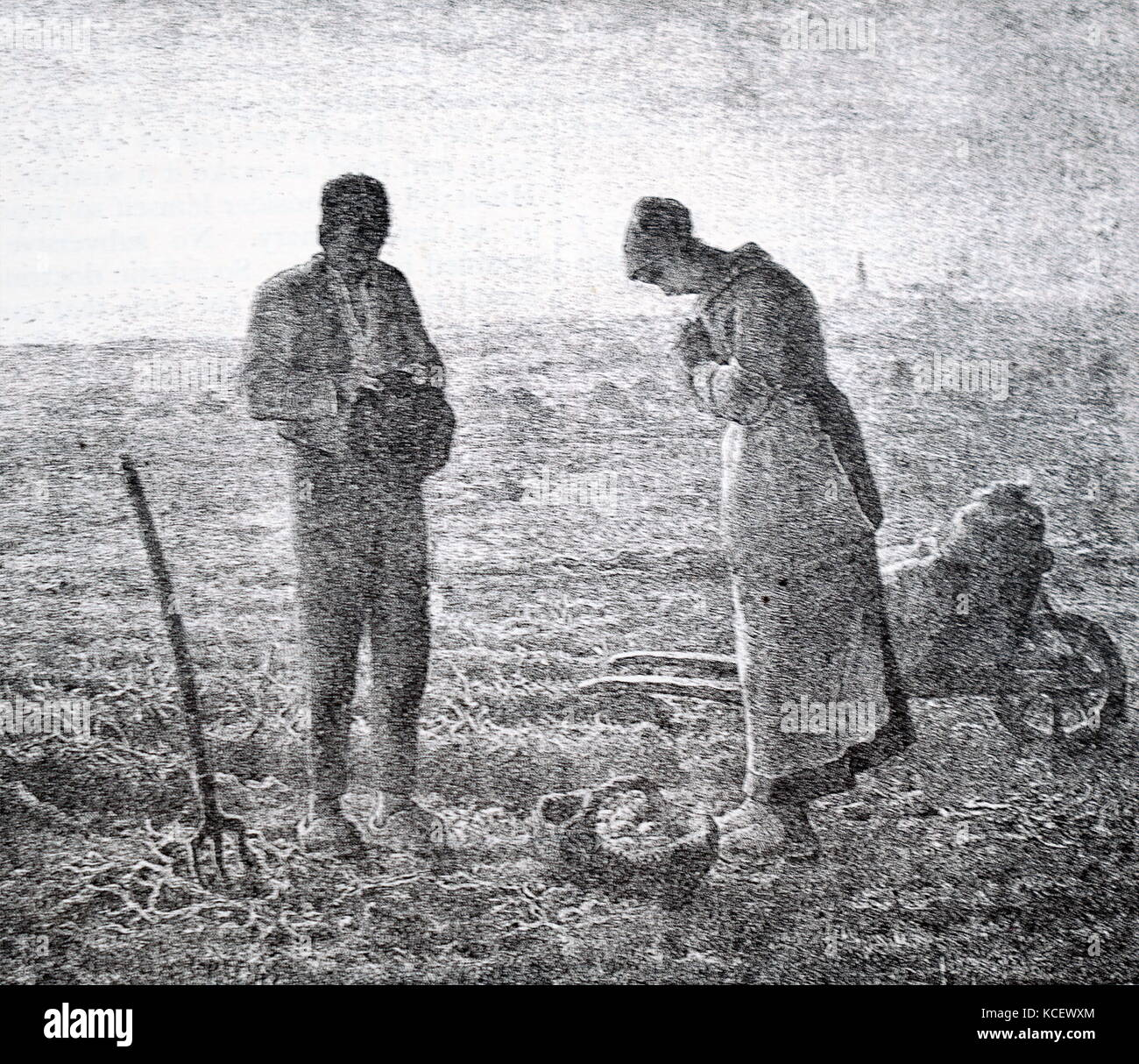 Print of the painting titled 'The Angelus' by Jean-François Millet (1814-1875) a French painter and - Stock Image