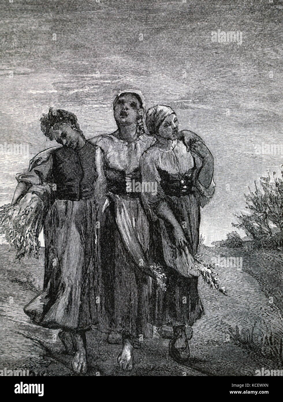 Print of the painting titled 'The Harvesters' by Jean-François Millet (1814-1875) a French painter - Stock Image