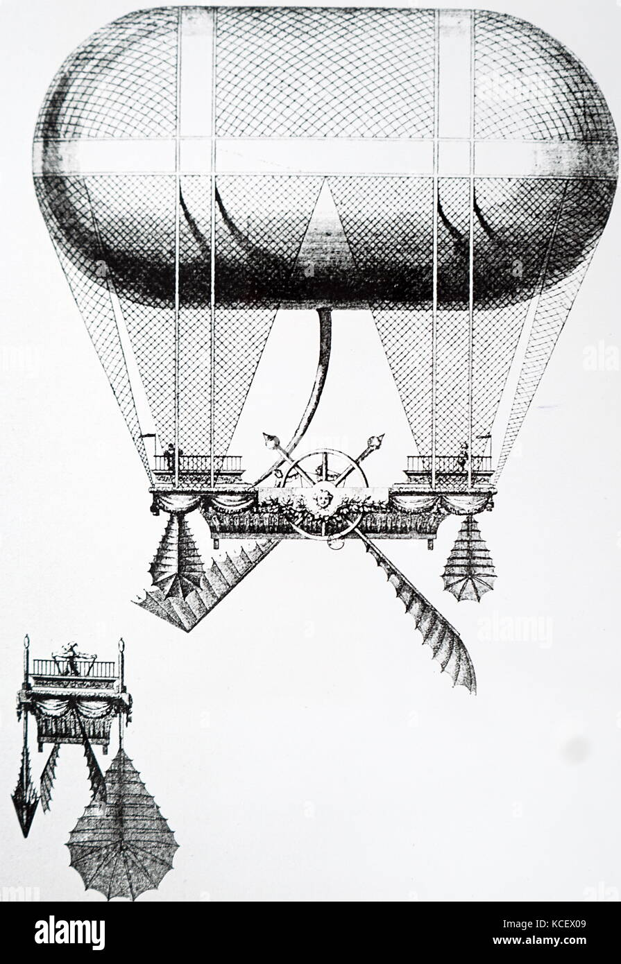 Engraving Carra's balloon fitted with paddle wheels as a means of propulsion. Dated 18th Century - Stock Image