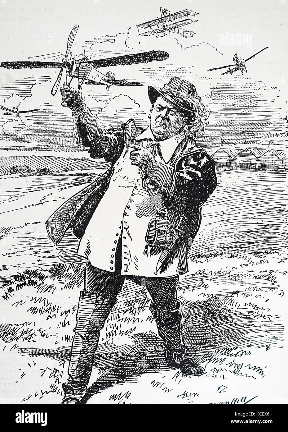 Cartoon depicting Richard Haldane, 1st Viscount Haldane (1856-1928) an influential Scottish Liberal and later Labour - Stock Image
