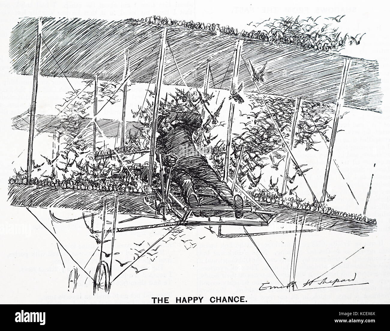 Cartoon depicting an early pilot under difficulties, by E. H. Shepard. Ernest Howard Shepard (1879-1976) an English - Stock Image