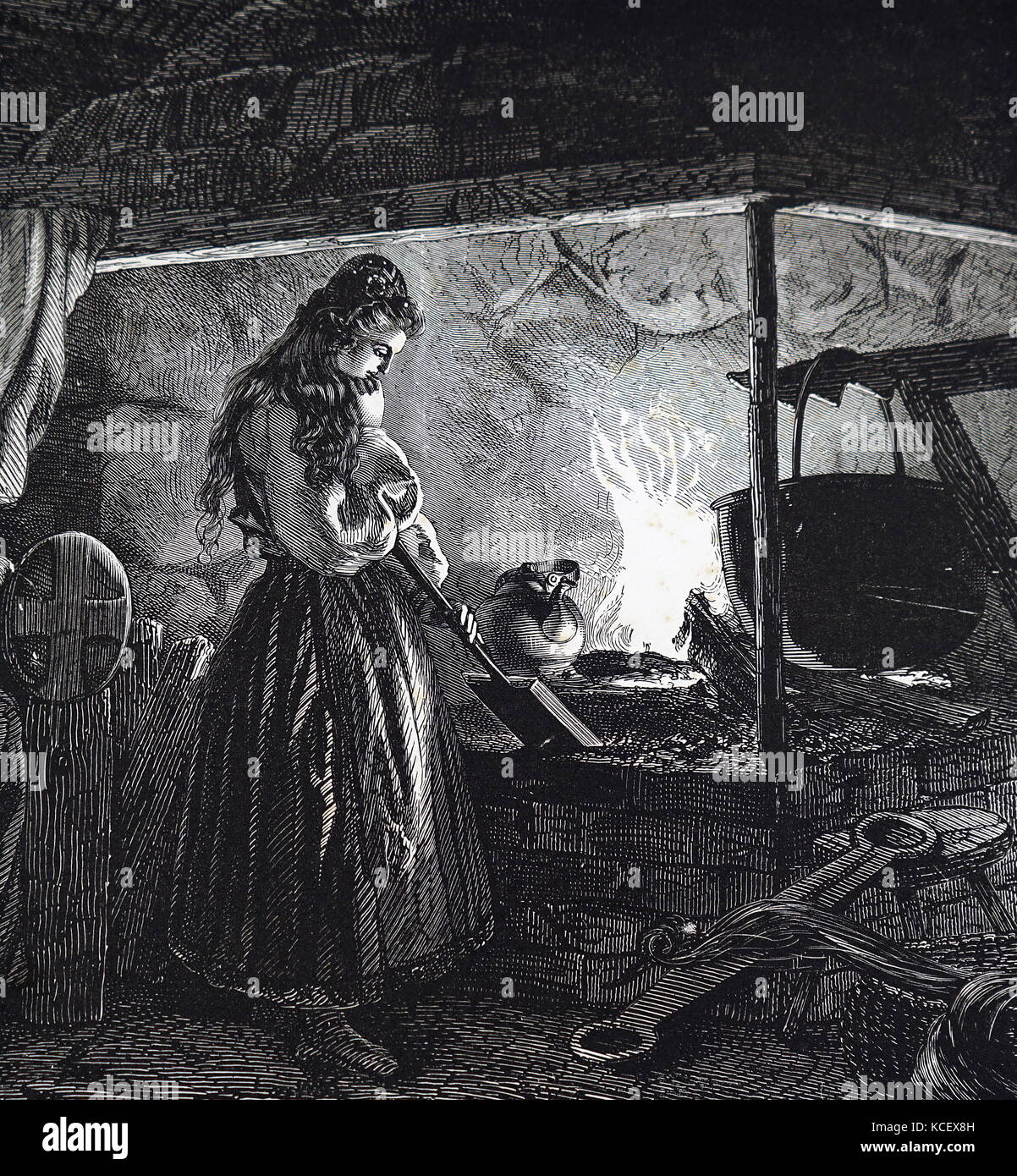 Engraving depicting a young girl heating Gamalost, which translates as 'old cheese', which was a pungent - Stock Image