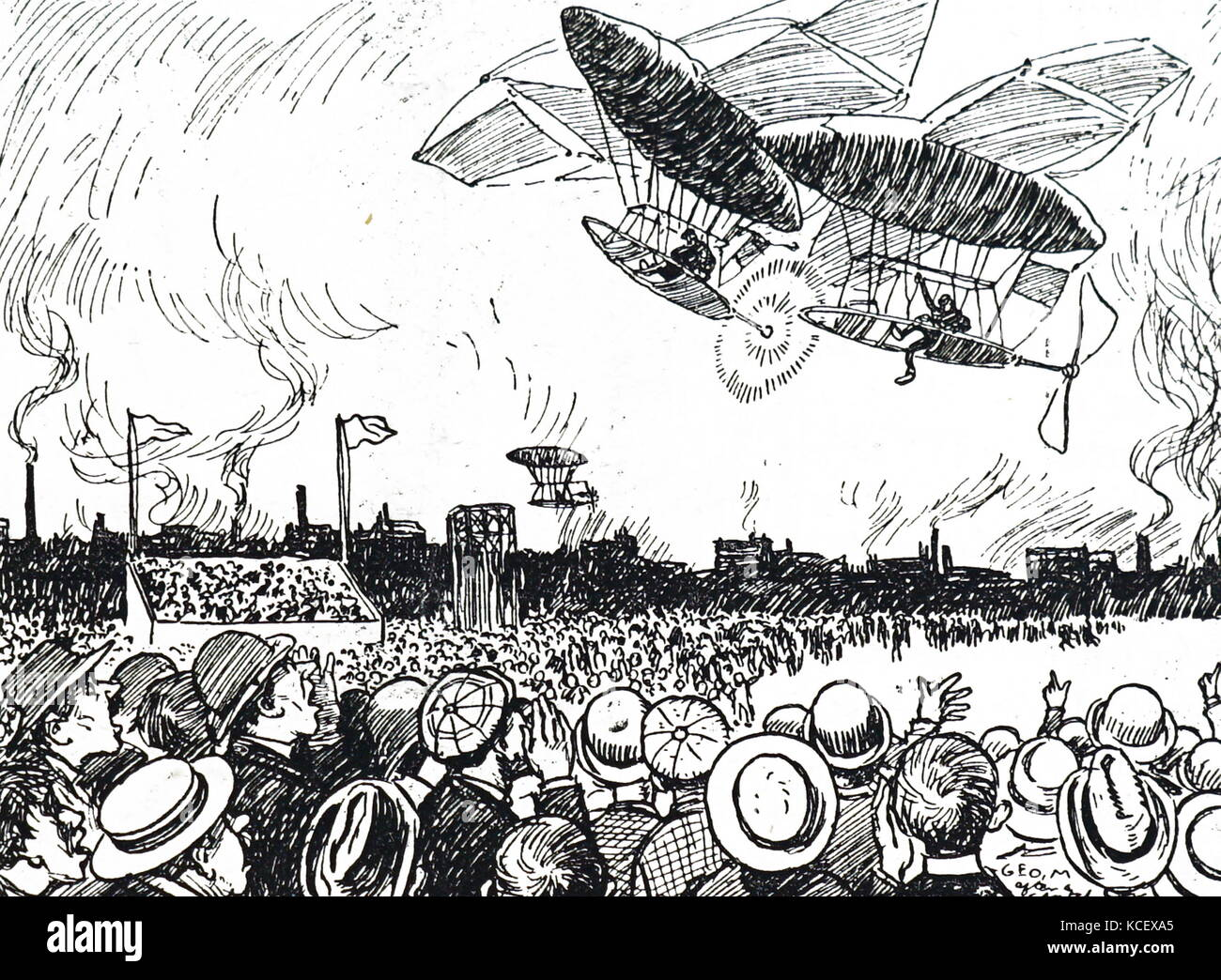 Cartoon depicting horrified spectators watching two aircrafts collide during an air-show. Dated 20th Century - Stock Image