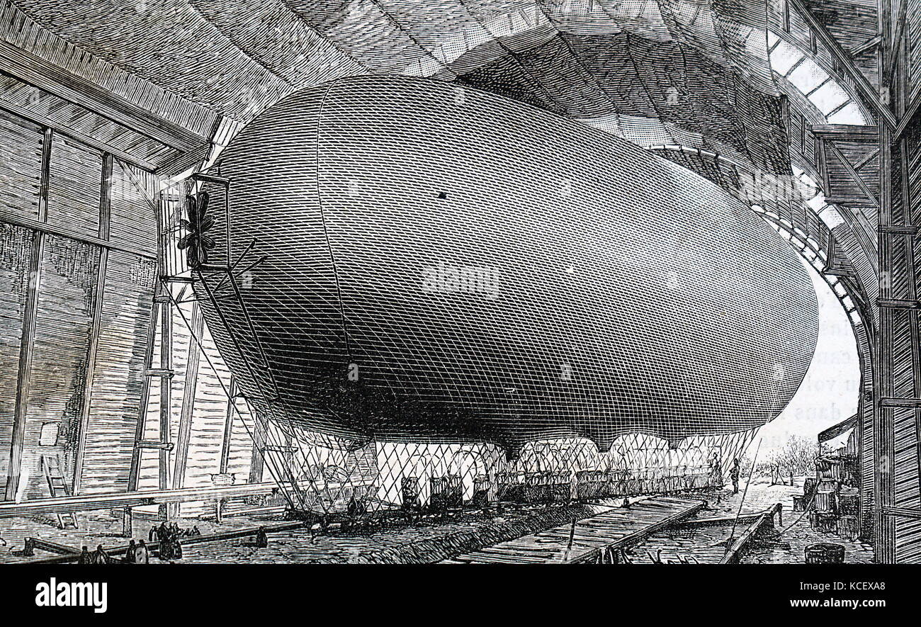 Engraving depicting a French air-ship in it's hanger. Dated 19th Century - Stock Image