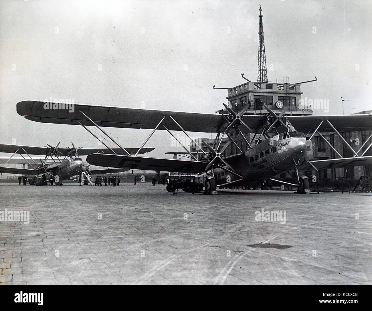 Photograph of a Handley Page H.P.42, a British four-engine biplane airliner used by Imperial Airways. Dated 20th - Stock Image